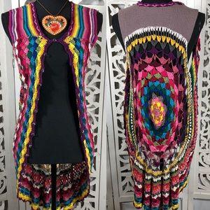 Multi-color Crochet Circle Vest